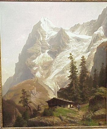 Joseph Jansen German, 1829 - 1905 HIKER APPROACHING AN ALPINE MOUNTAIN HOUSE Signed and inscribed
