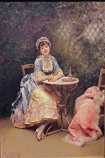 Raimundo de Madrazo y Garretta Spanish, 1841-1920 DAY DREAMS Signed R. Madrazo (ll) Oil on mahogany