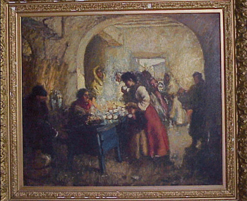 Augustus Koopman 1869 - 1914 THE BLUE COFFEE STAND Signed and dated 190... (lr) Oil on canvas