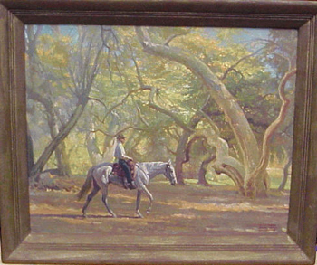 W. Smithson Broadhead British/American, 1888 - 1960 ON HORSEBACK THROUGH A GROVE Signed W. Smithson