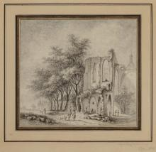 Aignan-Thomas Desfriches French, 1715-1800 A Ruined Abbey beside a Path