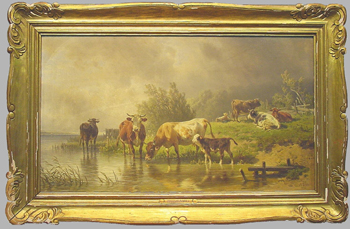 Friedrich Johann Voltz German, 1817-1886 CATTLE WATERING BY STREAM UNDER DARKENING SKIES Signed and dated Fr