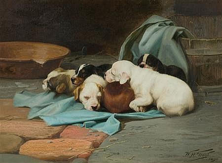 William Henry Hamilton Trood British, 1860-1899 Sleeping Pups