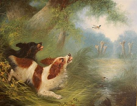 Edward Armfield British, 1817-1896 Spaniels Flushing Mallard