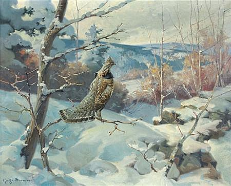 George Browne Canadian, 1918-1958 Ruffed Grouse in a Snow Covered Forest