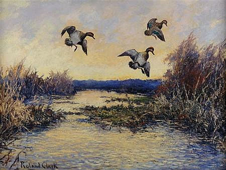 Roland H. Clark American, 1874-1957 Ducks In Flight