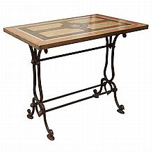 French Specimen Marble Top Cast Iron Side Table