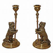 Pair of Victorian Brass Dog-Form Candlesticks
