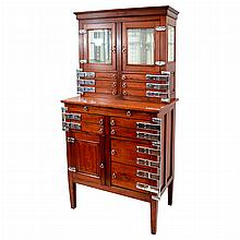 English Chrome and Walnut Physician's Cabinet