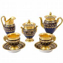 Paris Gilt and Cobalt Decorated Porcelain Tete a Tete
