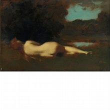 Jean-Jacques Henner French, 1829-1905 Nymphe Couchee. Grand Etude, circa 1896