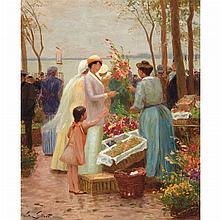 Victor Gilbert French, 1847-1933 La Marchande de Fleurs au Crotoy