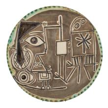 Pablo Picasso JACQUELINE AU CHEVALET Painted and partially glazed ceramic plate