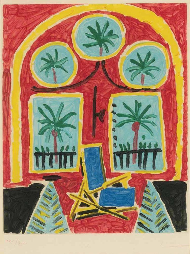 Pablo picasso la fen tre de l 39 atelier la californie color for A la fenetre sarthoise