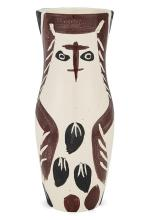 Pablo Picasso CHOUETTON Painted and partially glazed white ceramic vase