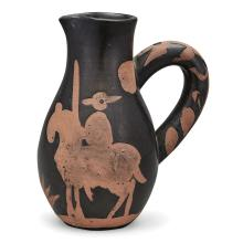 Pablo Picasso PICADOR Painted and partially glazed red ceramic pitcher
