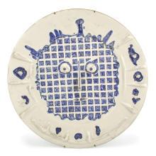 Pablo Picasso VISAGE À LA GRILLE Painted and partially glazed ceramic plate