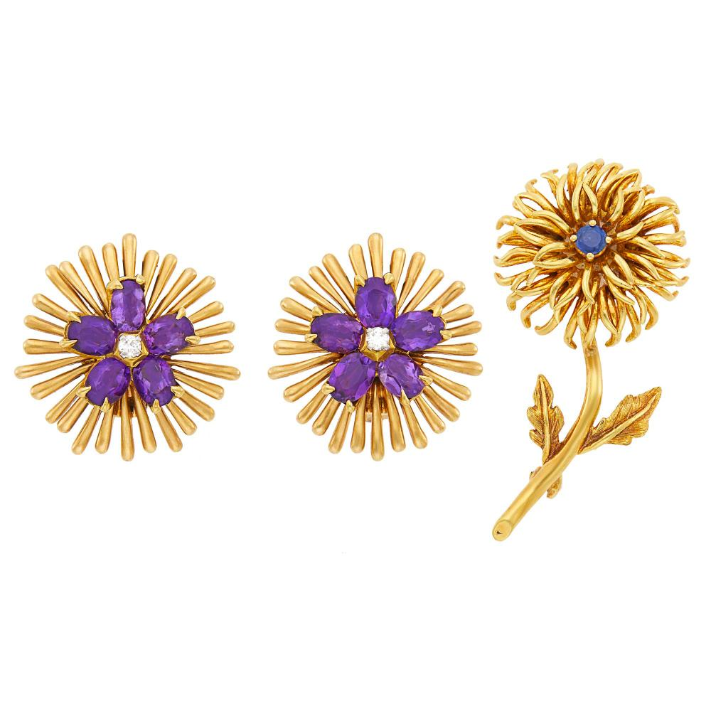 Tiffany & Co. Pair of Gold, Amethyst and Diamond Earclips and Gold and Sapphire Flower Pin