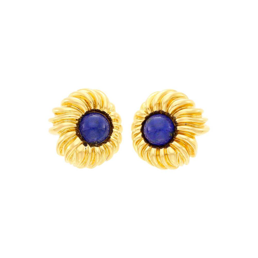Tiffany & Co. Pair of Gold and Lapis Flower Earrings