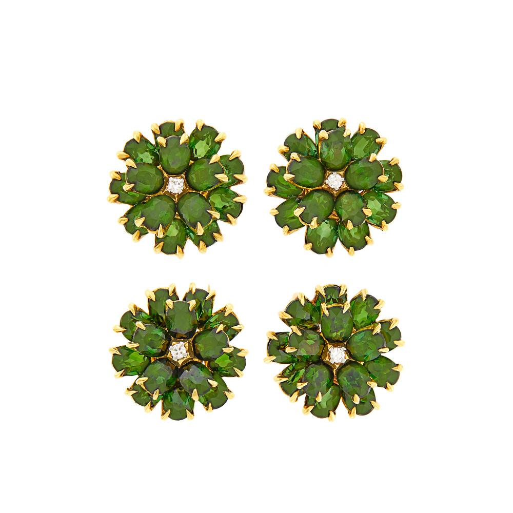Tiffany & Co. Pair of Gold, Tourmaline and Diamond Flower Earclips and Pair of Clip-Pins