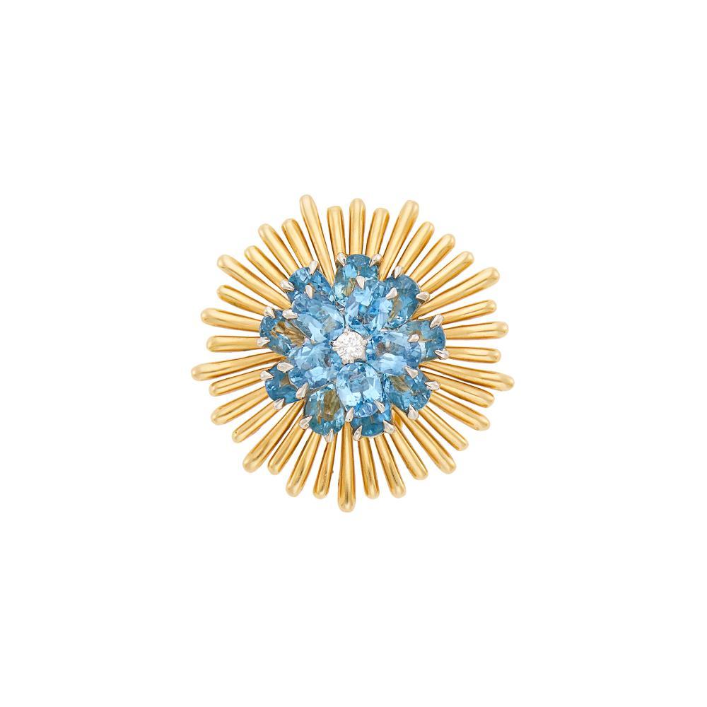 Tiffany & Co. Gold, Platinum, Diamond and Aquamarine Clip-Brooch