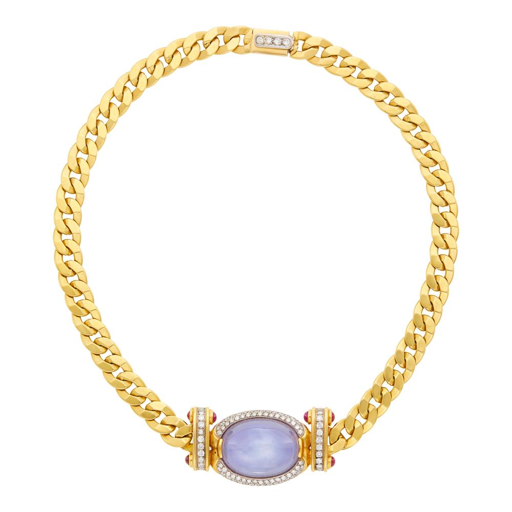 Two-Color Gold, Star Sapphire, Diamond and Cabochon Ruby Curb Link Necklace