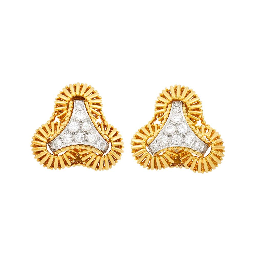 Tiffany & Co. Pair of Two-Color Gold and Diamond Earclips