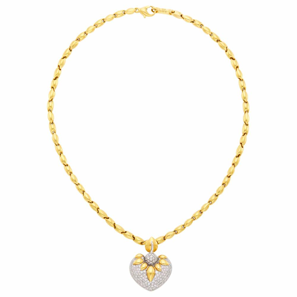 Chimento Two-Color Gold and Diamond Heart Pendant-Necklace