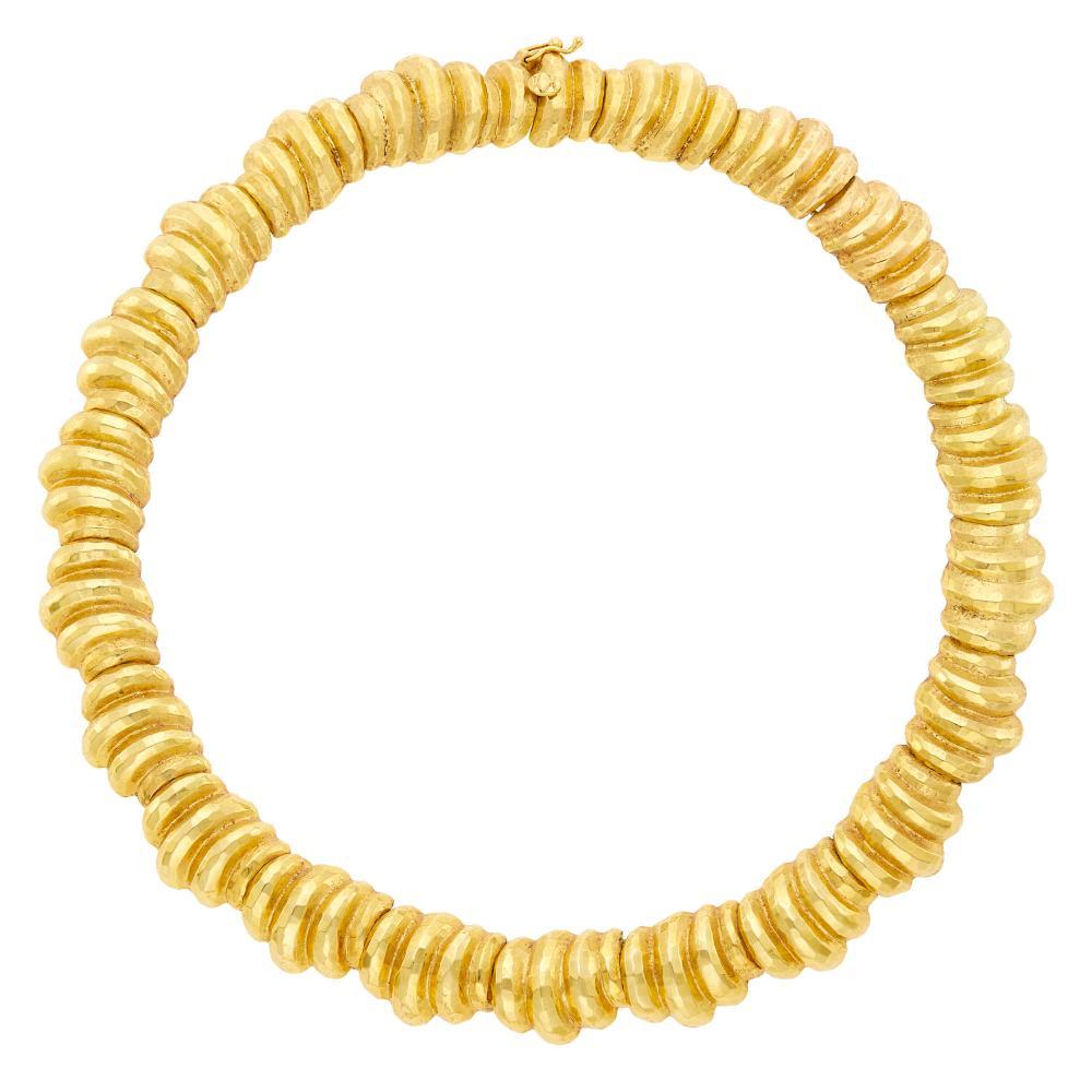 Hammered Gold Bombé Link Necklace