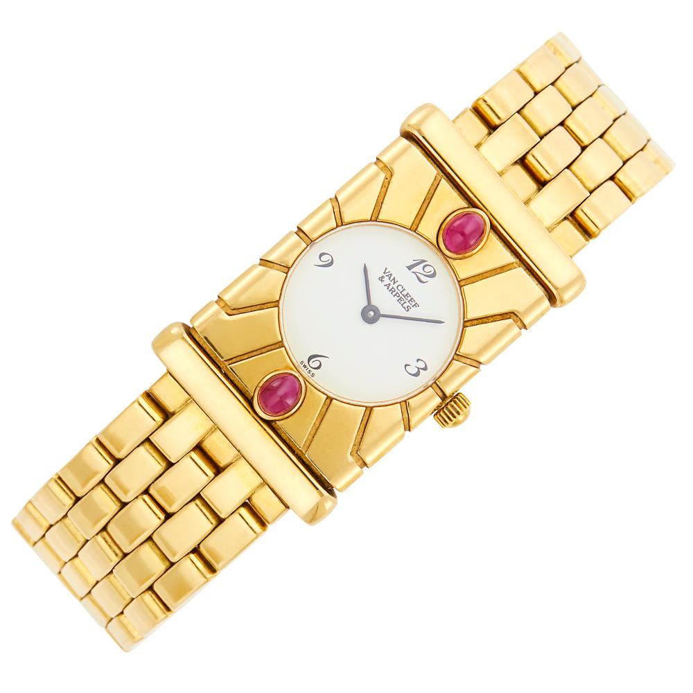 Van Cleef & Arpels Gold and Ruby 'Facade' Wristwatch
