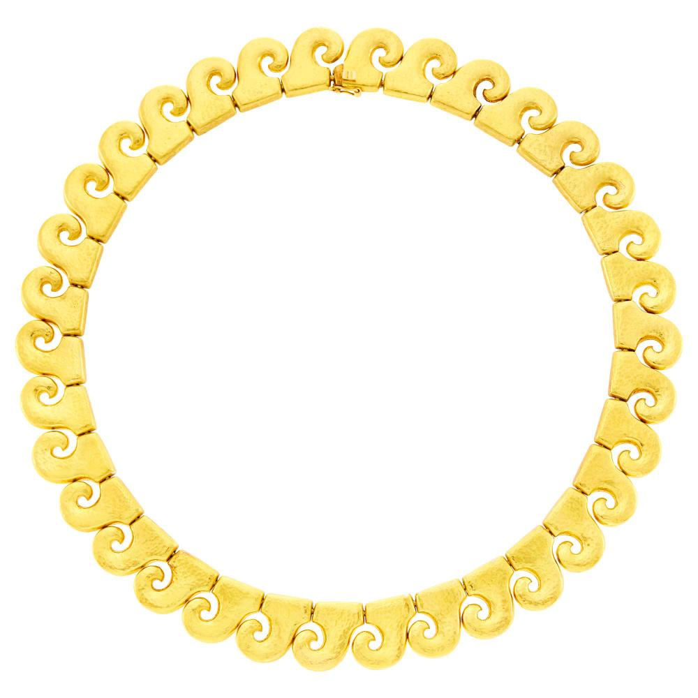 Zolotas High Karat Hammered Gold Necklace