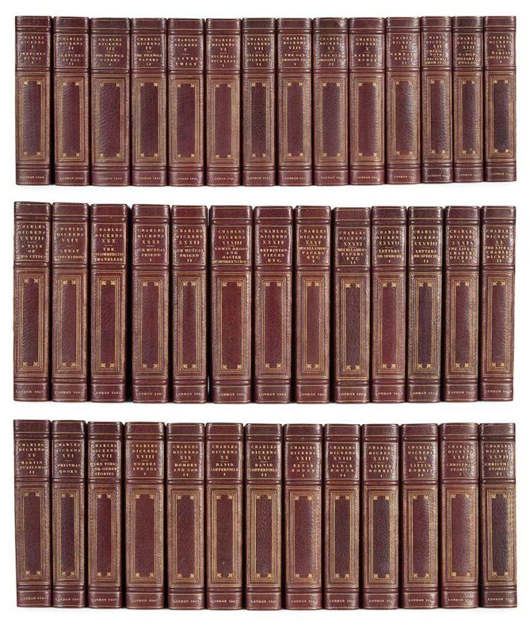 DICKENS, CHARLES Works. London: Chapman & Hall, 1906-08. The National Edition, one of 750 sets. 40 volumes. Half burgundy mo...