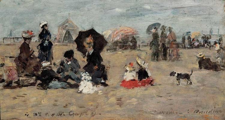 Eugene Boudin French, 1824-1898 Trouville, Scene de Plage