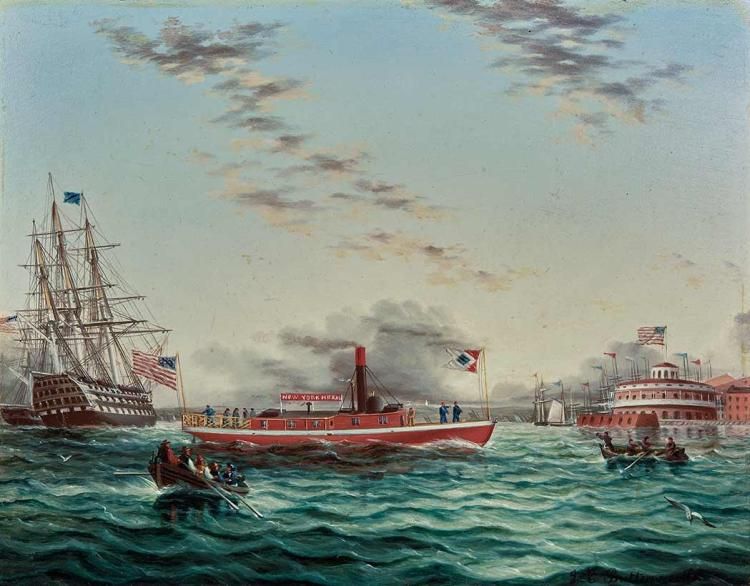 James Edward Buttersworth American/British, 1817-1894 New York Harbor with Castle Clinton, a Pilot Ship and a Frigate...