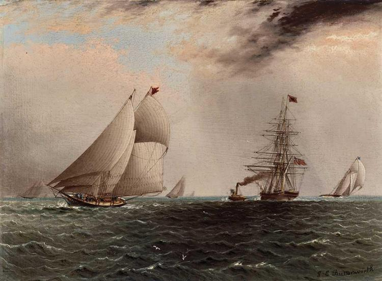James Edward Buttersworth American/British, 1817-1894 Yacht Race with Tugboat Towing a British Ship to Sea   Signe...