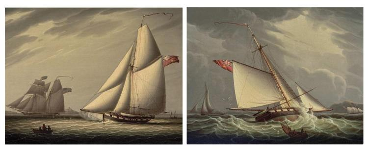 Robert Salmon American/Scottish, 1775-1844 Castle Edwin Capturing the American Schooner John & William: Two