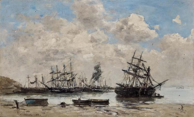 Eugene Boudin French, 1824-1898 Honfleur, Bateaux Echoues Pres du Rivage, 1873   Signed E. Boudin and dated...