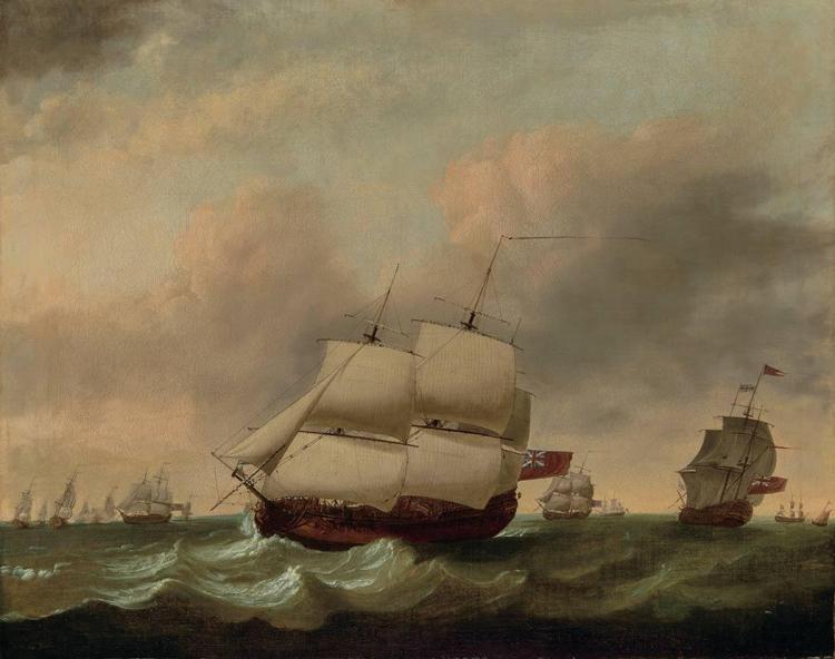 Dominic Serres British, 1722-1793 English Naval Fleet at Sea