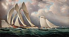 James Edward Buttersworth American/British, 1817-1894 Yacht Racing Off Sandy Hook, circa 1877 Signed J. E...