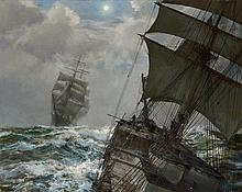 Montague Dawson British, 1890-1973 Two Clippers - Nocturne