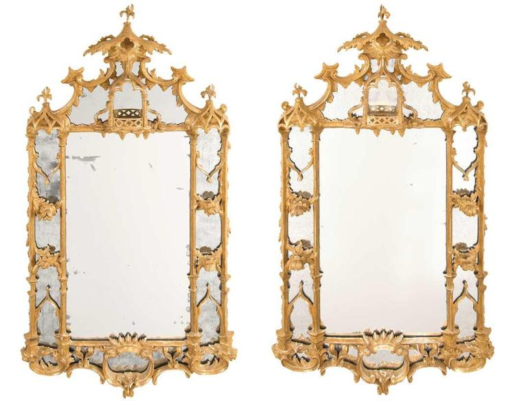 Pair of George II Giltwood Pier Mirrors