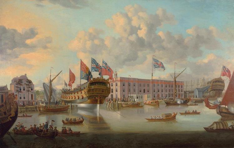 British School 18th/19th Century Greenwich Shipyard, 1750