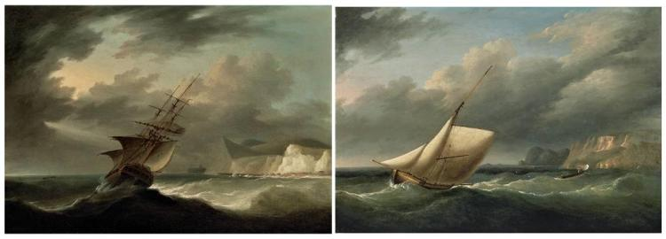 British School 19th Century Sailboat in a Gale Offshore and Ship in a Storm with White Cliffs Beyond: Two Ea...