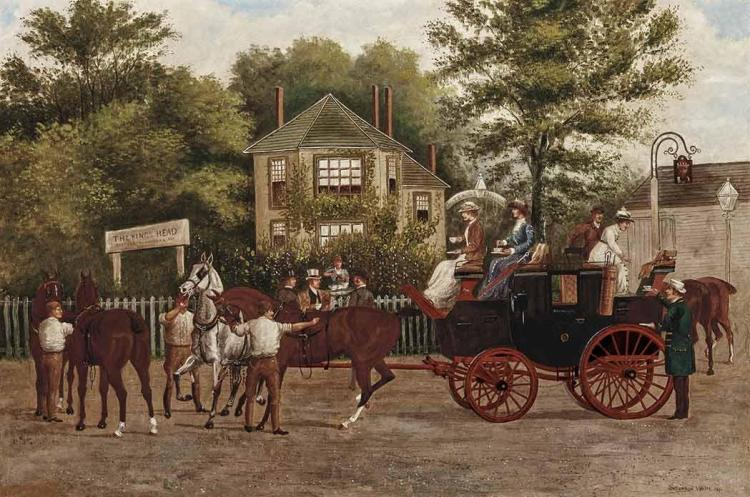 British School 19th Century Coach Stopped to Change Horses at the King''s Head, 1891