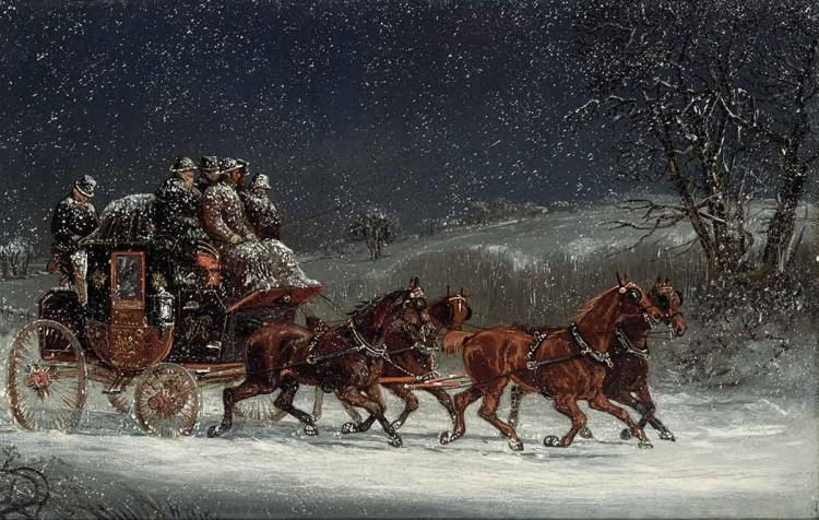 Samuel Henry Gordon Alken British, 1810-1894 A Royal Mail Coach at the Open Road in a Snow Storm
