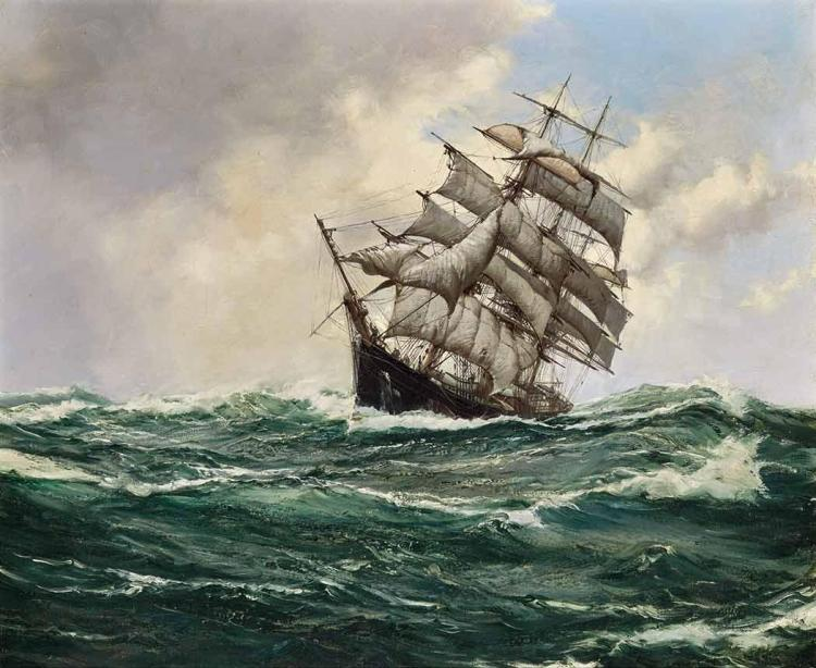 Montague Dawson British, 1890-1973 The Carrie Reed Under Full Sail: 1400 Tons - Built 1870