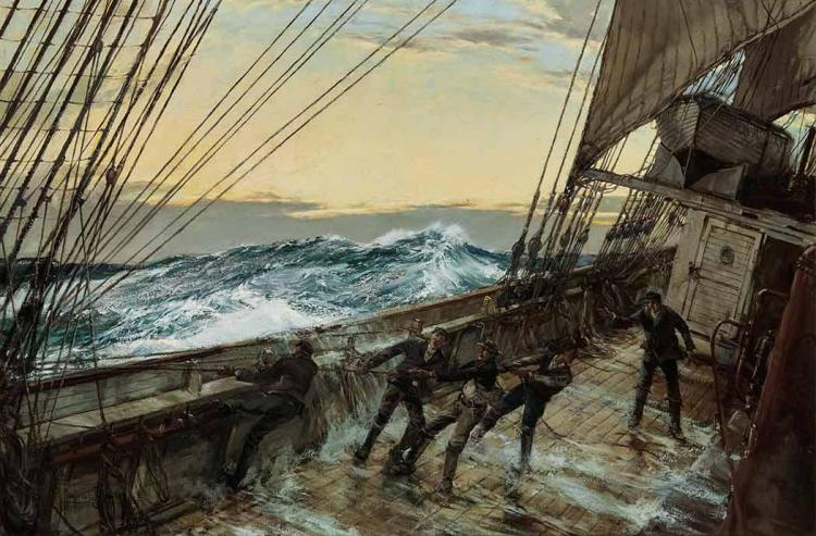 Montague Dawson British, 1890-1973 Ship Deck, Stormy Seas