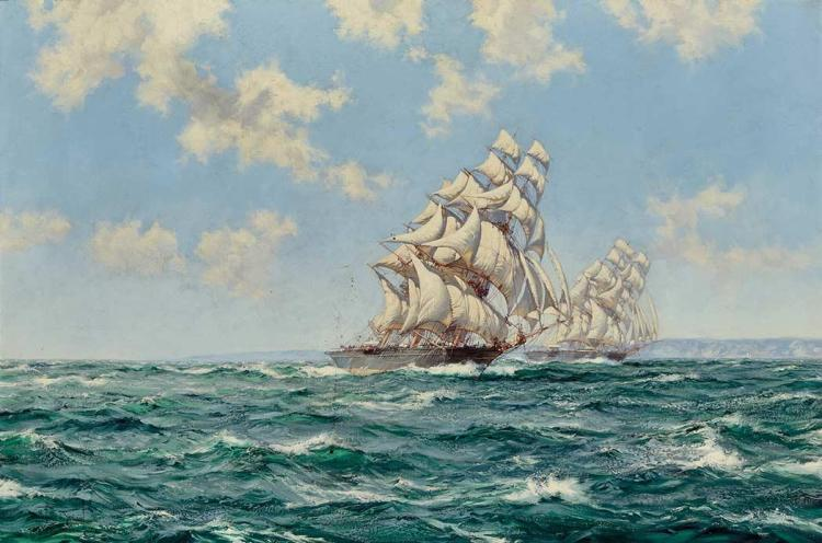 Montague Dawson British, 1890-1973 The Rivals: Taeping and  Ariel