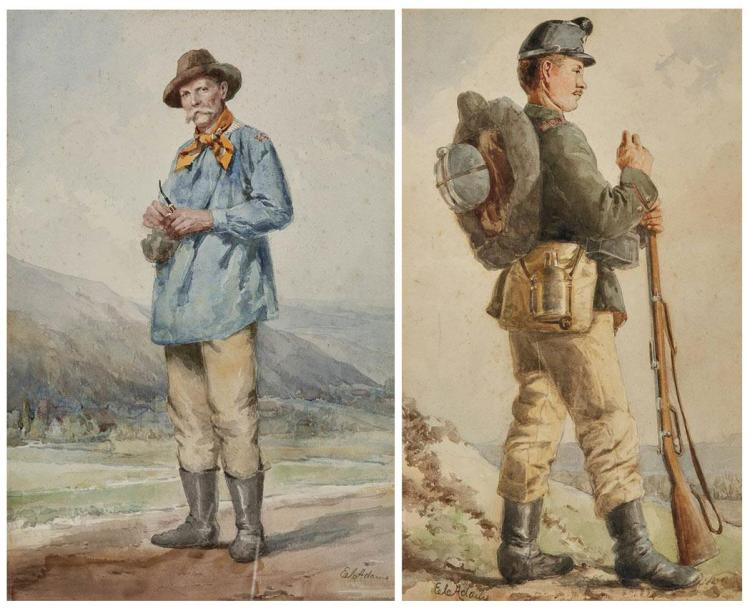 19th Century School Man with a Pipe and Infantry Man: Two