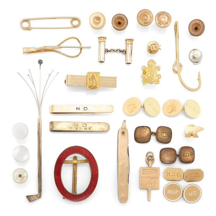 Group of Gold, Metal and Stainless Steel Jewelry, Cards and Items